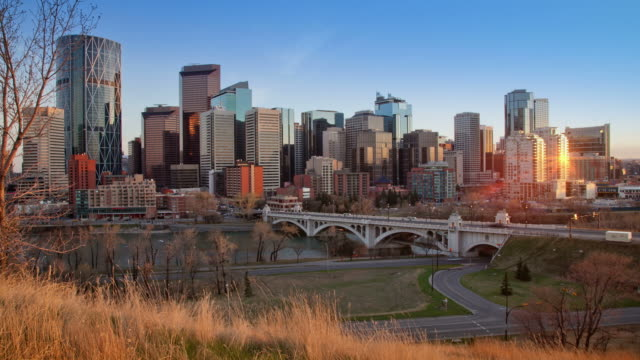 sunset time lapse of calgary, alberta - alberta stock videos & royalty-free footage