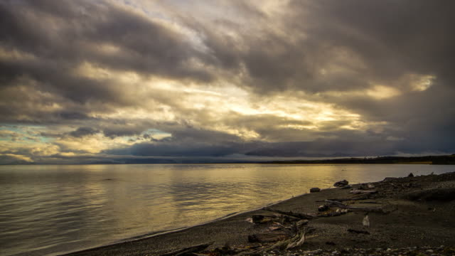 Sunset Time Lapse of clouds over Patagonian Sea, Chile