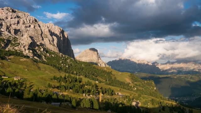 Sunset Time Lapse of Gardena pass , passo gardena in dolomites south tyrol Italy alps