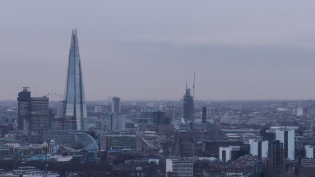 LONDON - CIRCA 2014: Sunset Time Lapse of London from a high level roof top