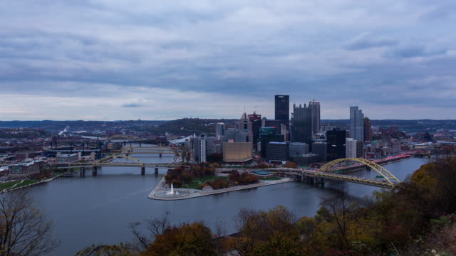 PITTSBURGH - CIRCA 2014: Sunset Time Lapse of Pittsburgh Skyline