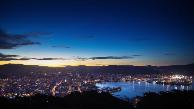 sunset time lapse of wellington, new zealand - new zealand stock videos & royalty-free footage