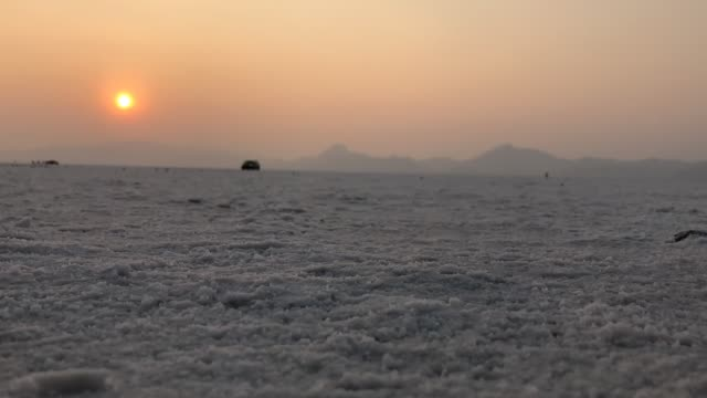 sunset time lapse on the salt flats - bonneville salt flats stock videos and b-roll footage