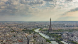 sunset time paris city center seine river eiffel tower aerial panorama aerial timelapse panorama 4k france