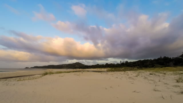sunset timelapse at byron bay main beach, new south wales, australia - southern hemisphere stock videos & royalty-free footage