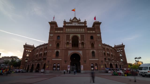 Sunset Time-lapse at Plaza de Toros in Madrid