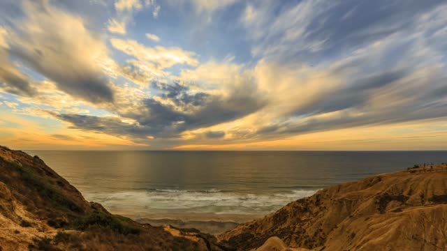 sunset timelapse at the torrey pines gliderport - hang gliding stock videos and b-roll footage