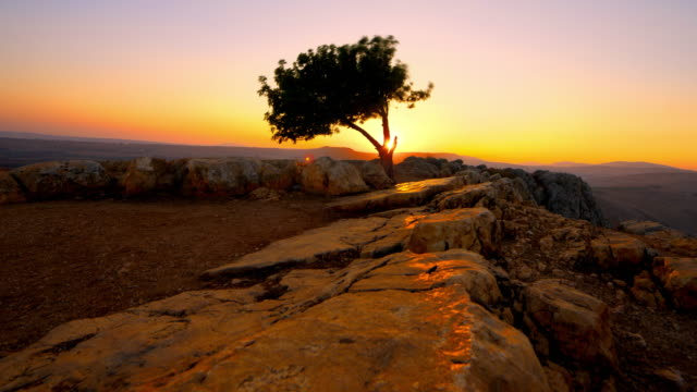 Sunset time-lapse from Mount Arbel near the Sea of Galilee.