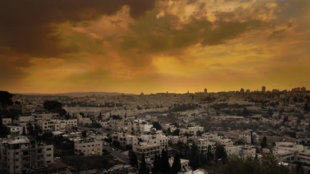 sunset time-lapse from the byu jerusalem center. - jerusalem stock-videos und b-roll-filmmaterial