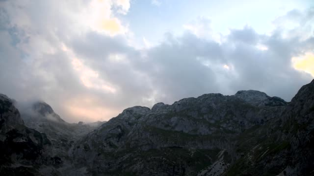 sunset timelapse in durmitor national park in montenegro - durmitor national park stock videos & royalty-free footage