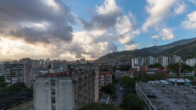 Sunset Timelapse of Caracas skyline in Venezuela