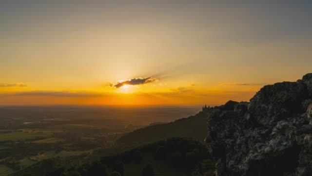 T/L Sunset Timelapse of Castle Hohenzollern, Baden-Württemberg, Germany. Slider shot