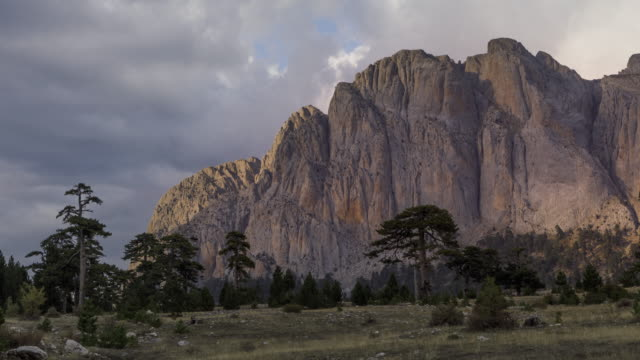 sunset timelapse of dedegol mountain and kuzukulagi plateau in turkey - day to sunset stock videos & royalty-free footage