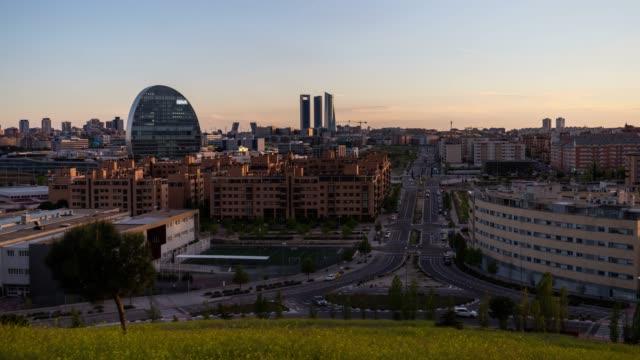 sunset time-lapse of madrid skyline - madrid stock videos & royalty-free footage