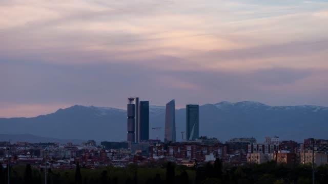 Sunset Time-lapse of Madrid Skyline
