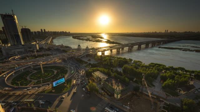 Sunset Timelapse of Songhuajiang Gonglu Bridge, Harbin, China