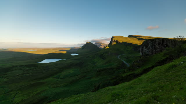 sunset timelapse of the quiraing in isle of skye, scotland - skye stock videos and b-roll footage