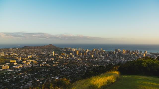 t/l sunset timelapse overlooking diamond head and honolulu, oahu, hawaii - oahu stock videos & royalty-free footage