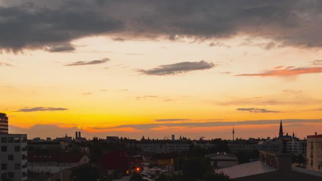 Sunset Timelapse overlooking Munich, Bavaria, Germany