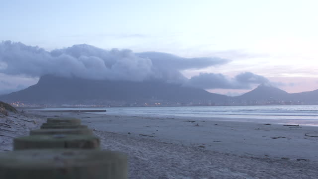 Sunset time-lapse Table Mountain with cloud cover/ Cape Town/ South Africa