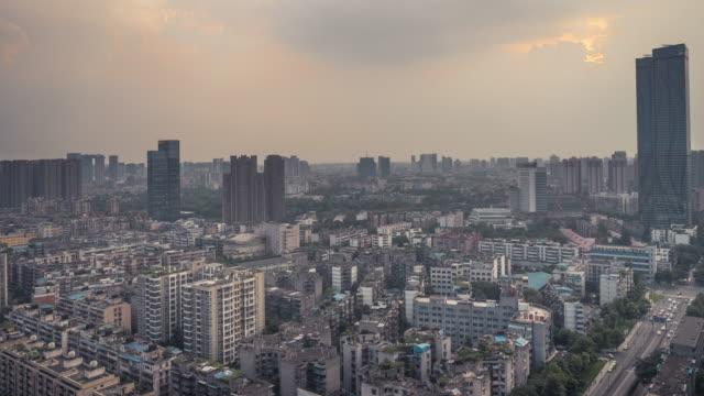 sunset timelapse video of chengdu, china - 四川省点の映像素材/bロール