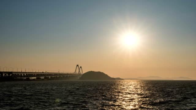 Sunset to night scenery view of seascape and Yeongjongdaegyo bridge
