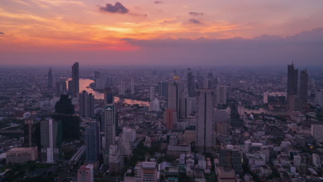 sunset to night time lapse: bangkok cityscapes and chao phraya river. - sunset to night time lapse stock videos & royalty-free footage
