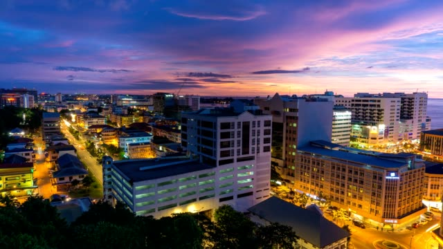 Sunset to night time lapse of Kota Kinabalu City