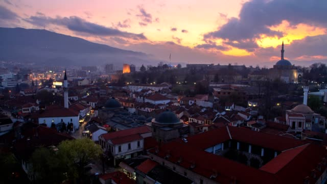 sunset to night time lapse (high angle wiew) - eastern european culture stock videos & royalty-free footage
