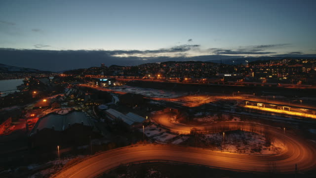 Sunset to night view Narvik at winter