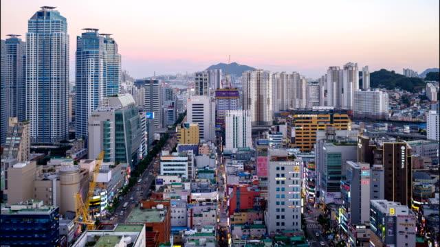 sunset to night view of seomyeon main street in busanjin-gu district, busan - busan stock videos & royalty-free footage