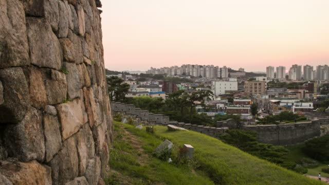 sunset to night view of the banhwasurujeong(korea treasure 1709) and hwahongmun gate at the suwon hwaseong castle - suwon stock videos and b-roll footage
