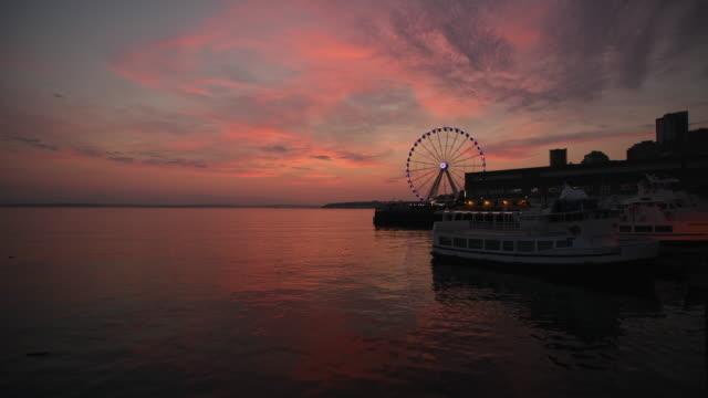 sunset - elliott bay stock videos & royalty-free footage