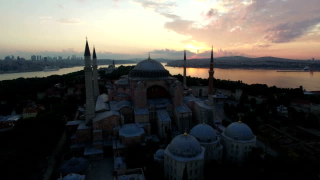 sunset view above hagia sophia museum in istabul, turkey - sultanahmet district stock videos and b-roll footage