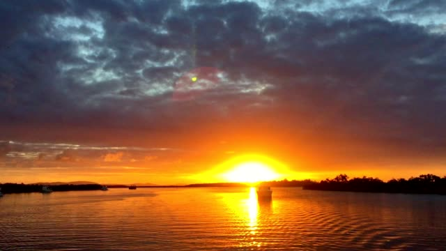 Sunset View from a Yacht on Calm Water in South East Queensland Australia