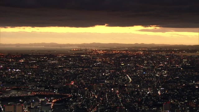 aerial, sunset view from yokohama to tokyo - kanagawa prefecture stock videos and b-roll footage