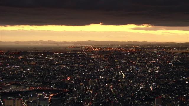 AERIAL, Sunset View From Yokohama To Tokyo