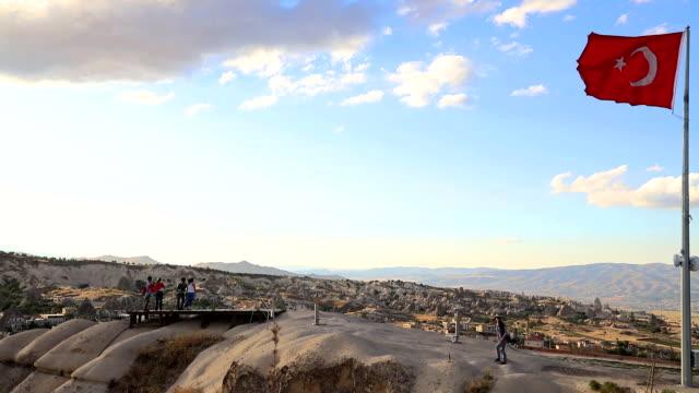 sunset view hill in cappadocia - rock hoodoo stock videos & royalty-free footage