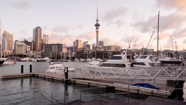 Sunset view of Auckland Skyline.