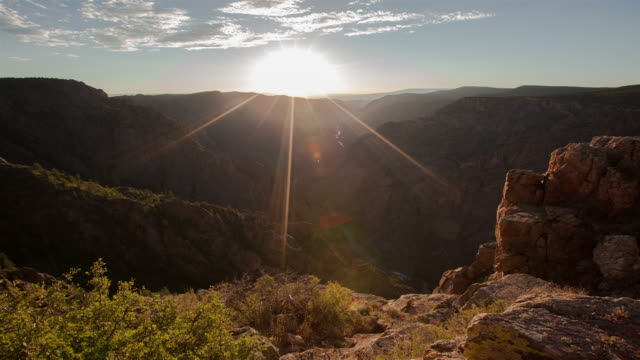 sunset view of black canyon of the gunnison national park - gunnison stock videos & royalty-free footage