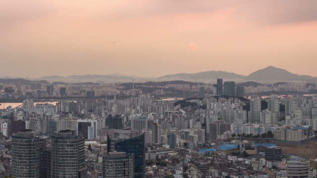 Sunset view of downtown district in the Myeong Dong area