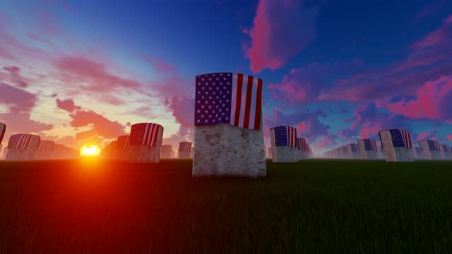 sunset view of marble tombstones covered with usa flag at us national cemetery - top hat stock videos & royalty-free footage