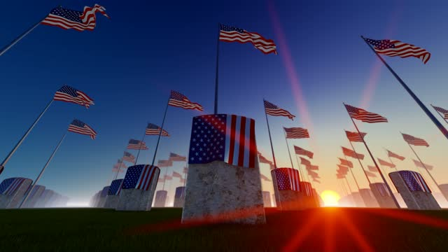 sunset view of marble tombstones with usa flags at us national cemetery - top hat stock videos & royalty-free footage