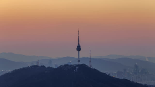 Sunset View of N Seoul Tower(tourist attraction)
