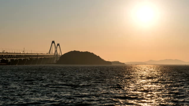 Sunset view of seascape and Yeongjongdaegyo bridge
