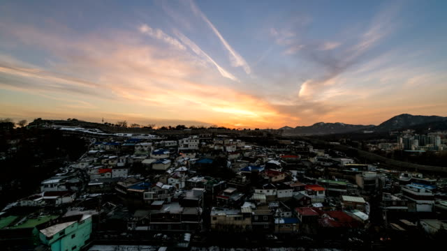 Sunset view of slum near Naksan park and Seoul City Wall (also called as Hanyangdoseong and it is Korea Historic Place 10)
