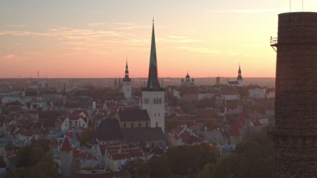 Sunset view of Tallinn Old Town with Oleviste Church in foreground, direction from passenger port