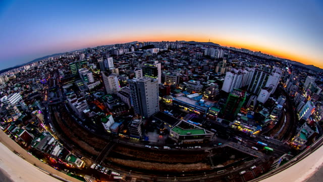 Sunset view of the city near Seongshinyeodaeipgu station