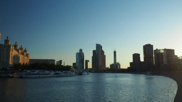 sunset view of the moscow downtown - river moscva stock videos & royalty-free footage