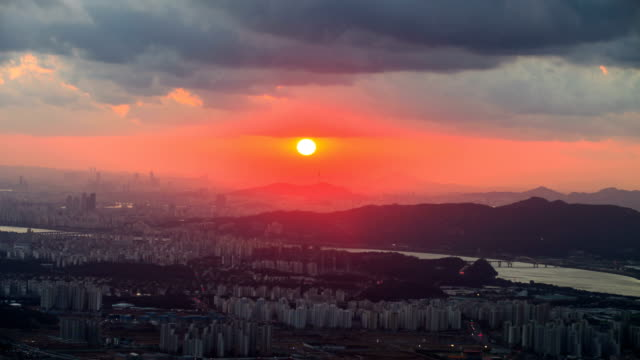 sunset view of the namsan mountain and han river in namyangju-si, gyeonggi-do province south korea - kyonggi do province stock videos and b-roll footage